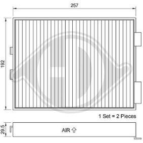 Filter, Innenraumluft Länge: 275mm, Breite: 202mm, Höhe: 35mm mit OEM-Nummer 64119070073