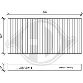 Filter, Innenraumluft Länge: 348mm, Breite: 167mm, Höhe: 30mm mit OEM-Nummer 1062 253