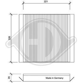 Filter, Innenraumluft Länge: 221mm, Breite: 226mm, Höhe: 35mm mit OEM-Nummer 6447KR