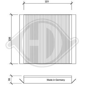 Filter, Innenraumluft Länge: 221mm, Breite: 226mm, Höhe: 35mm mit OEM-Nummer 6479-A1