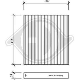 Filter, Innenraumluft Länge: 196mm, Breite: 217mm, Höhe: 25mm mit OEM-Nummer GS1D-61P11