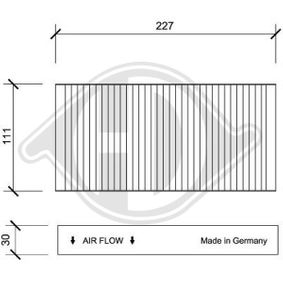 Filter, interior air Length: 228mm, Width: 111mm, Height: 30mm with OEM Number 80292 SCA E11