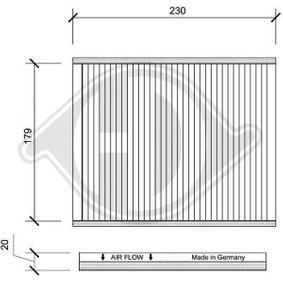 Filter, Innenraumluft Länge: 230mm, Breite: 189mm, Höhe: 20mm mit OEM-Nummer 46 723 435