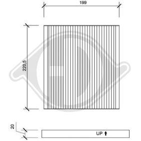 Filter, Innenraumluft Länge: 199mm, Breite: 221mm, Höhe: 20mm mit OEM-Nummer 88568-02030