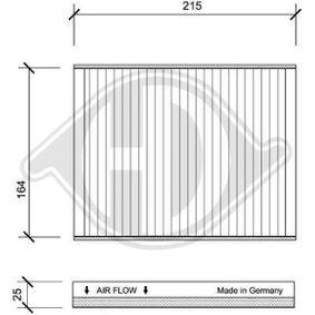 Filter, Innenraumluft Länge: 215mm, Breite: 170mm, Höhe: 25mm mit OEM-Nummer 46770834
