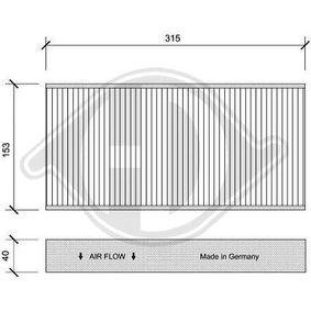 Filter, Innenraumluft Länge: 315mm, Breite: 153mm, Höhe: 40mm mit OEM-Nummer 647904