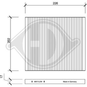 Filter, Innenraumluft Länge: 226mm, Breite: 202mm, Höhe: 17mm mit OEM-Nummer 971332E210