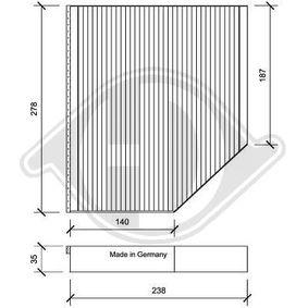 Filter, Innenraumluft Länge: 238mm, Breite: 278mm, Höhe: 35mm mit OEM-Nummer 8K0819439A