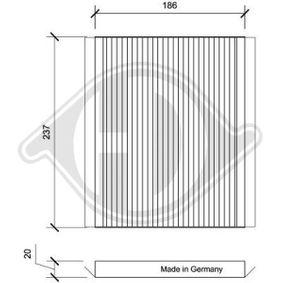 Filter, Innenraumluft Länge: 186mm, Breite: 237mm, Höhe: 20mm mit OEM-Nummer 97133 2E260AT