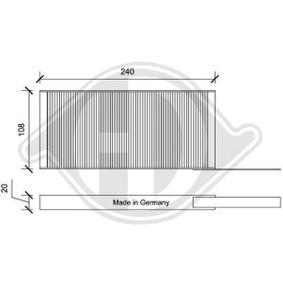 Filter, Innenraumluft Länge: 242mm, Breite: 108mm, Höhe: 40mm mit OEM-Nummer 95525119