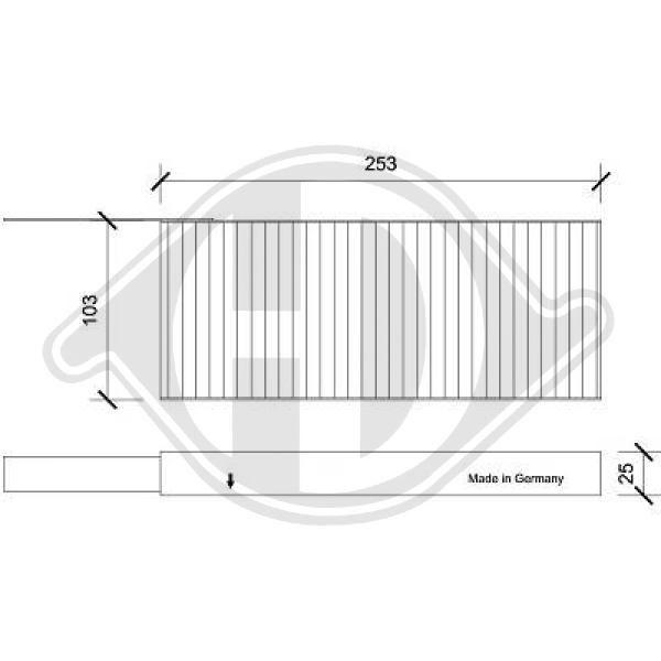 DIEDERICHS  DCI0225S Filter, Innenraumluft Länge: 253mm, Breite: 103mm, Höhe: 25mm