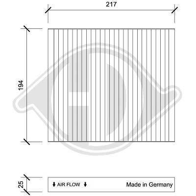 DIEDERICHS  DCI0233 Filter, Innenraumluft Länge: 217mm, Breite: 194mm, Höhe: 25mm