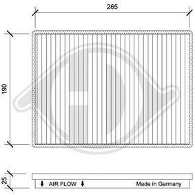 Filter, Innenraumluft Länge: 265mm, Breite: 190mm, Höhe: 25mm mit OEM-Nummer 95 599 725