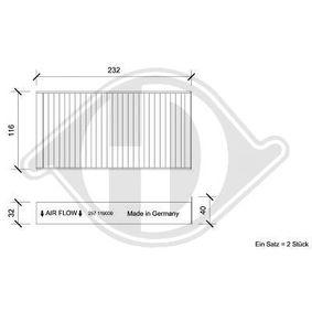 Filter, Innenraumluft Länge: 232mm, Breite: 116mm, Höhe: 32mm mit OEM-Nummer 64116823725
