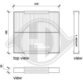 Filter, Innenraumluft Länge: 215mm, Breite: 222mm, Höhe: 25mm mit OEM-Nummer GS1D-61P11