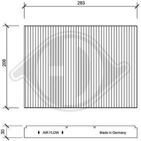 Filter, Innenraumluft Länge: 283mm, Breite: 206mm, Höhe: 30mm mit OEM-Nummer JZW819653