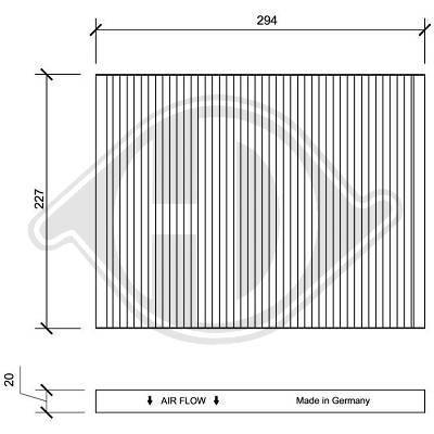 DIEDERICHS  DCI1014 Filter, Innenraumluft Länge: 294mm, Breite: 227mm, Höhe: 20mm