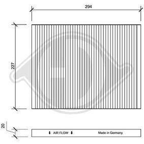 Filter, Innenraumluft Länge: 294mm, Breite: 227mm, Höhe: 20mm mit OEM-Nummer 60 814 643