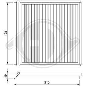 Filter, Innenraumluft Länge: 215mm, Breite: 210mm, Höhe: 19mm mit OEM-Nummer 6447-PF