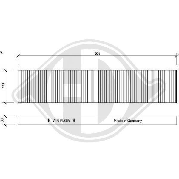 DIEDERICHS  DCI1020 Filter, Innenraumluft Länge: 538mm, Breite: 111mm, Höhe: 30mm