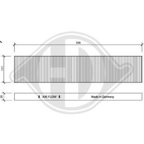Filter, Innenraumluft Länge: 538mm, Breite: 111mm, Höhe: 30mm mit OEM-Nummer 1113 627