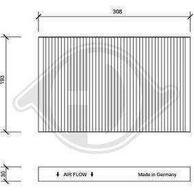 Filter, Innenraumluft Länge: 308mm, Breite: 193mm, Höhe: 30mm mit OEM-Nummer 4B0819439