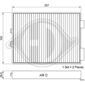 Filter, Innenraumluft Länge: 275mm, Breite: 202mm, Höhe: 35mm mit OEM-Nummer 6411 9070 073