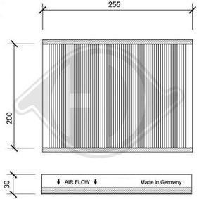 Filter, Innenraumluft Länge: 255mm, Breite: 210mm, Höhe: 30mm mit OEM-Nummer 6447.LN