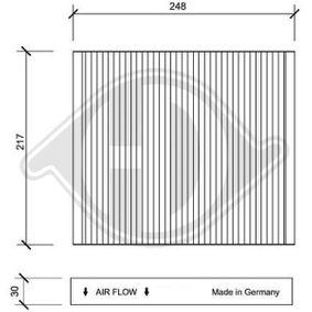 Filter, Innenraumluft Länge: 248mm, Breite: 217mm, Höhe: 30mm mit OEM-Nummer 6Q0 819 653B