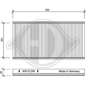 Filter, Innenraumluft Länge: 332mm, Breite: 171mm, Höhe: 30mm mit OEM-Nummer 46 844 822