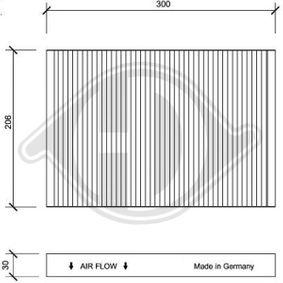 Filter, Innenraumluft Länge: 300mm, Breite: 206mm, Höhe: 30mm mit OEM-Nummer 4B0819439 C