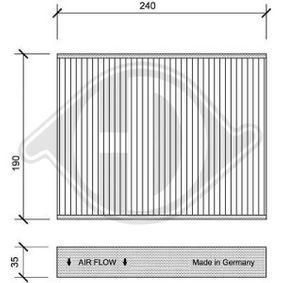 Filter, Innenraumluft Länge: 240mm, Breite: 190mm, Höhe: 35mm mit OEM-Nummer 1 353 269