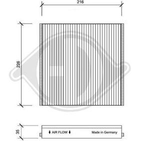 Filter, Innenraumluft Länge: 221mm, Breite: 226mm, Höhe: 35mm mit OEM-Nummer 6479.A2