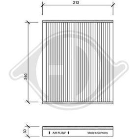 Filter, Innenraumluft Länge: 212mm, Breite: 250mm, Höhe: 30mm mit OEM-Nummer 95528291