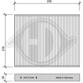 Filter, Innenraumluft Länge: 278mm, Breite: 219mm, Höhe: 30mm mit OEM-Nummer 7H0819631A