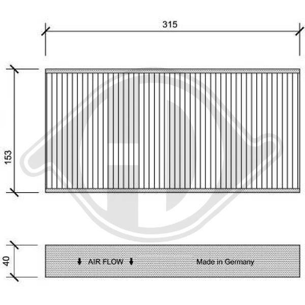 DIEDERICHS  DCI1112 Filter, Innenraumluft Länge: 315mm, Breite: 153mm, Höhe: 40mm