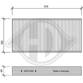 Filter, Innenraumluft Länge: 315mm, Breite: 153mm, Höhe: 40mm mit OEM-Nummer 6441 EJ