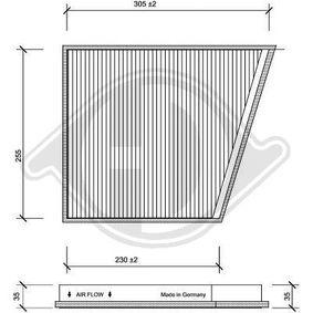 Filter, Innenraumluft Länge: 320mm, Breite: 265mm, Höhe: 35mm mit OEM-Nummer A2118300018