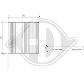 Filter, interior air Length: 181mm, Width: 185mm, Height: 28mm with OEM Number 7711 426 872