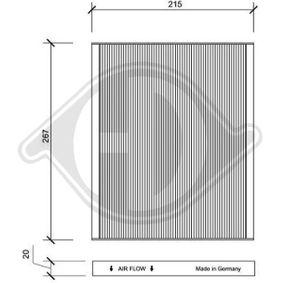 Filter, Innenraumluft Länge: 215mm, Breite: 267mm, Höhe: 20mm mit OEM-Nummer 55702468