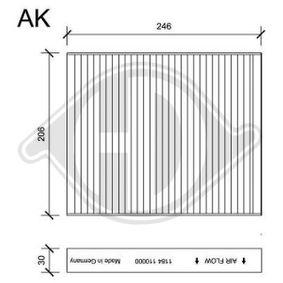 Filter, Innenraumluft Länge: 247mm, Breite: 206mm, Höhe: 30mm mit OEM-Nummer 6411 9 163 329