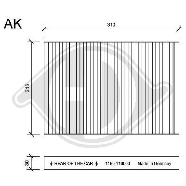 DIEDERICHS  DCI1190 Filter, Innenraumluft Länge: 310mm, Breite: 213mm, Höhe: 30mm