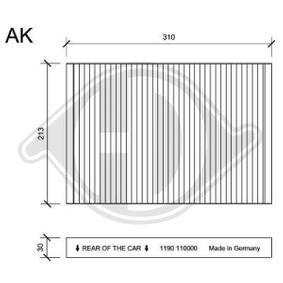 Filter, Innenraumluft Länge: 310mm, Breite: 213mm, Höhe: 30mm mit OEM-Nummer 04596501AB