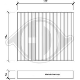 Filter, Innenraumluft Länge: 257mm, Breite: 224mm, Höhe: 35mm mit OEM-Nummer 6Q0819653B