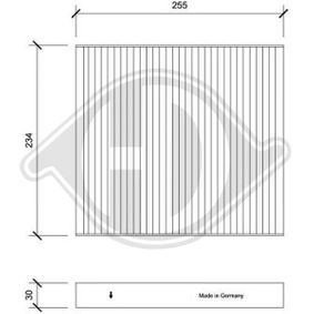 Filter, interior air Length: 255mm, Width: 234mm, Height: 30mm with OEM Number 5Q0127177
