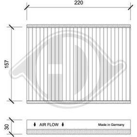 Filter, Innenraumluft Länge: 220mm, Breite: 157mm, Höhe: 30mm mit OEM-Nummer 71775 824