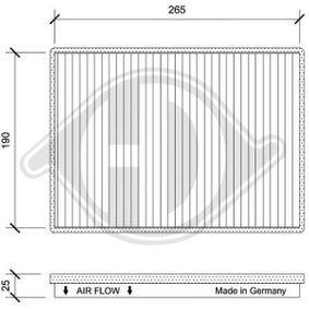 Filter, Innenraumluft Länge: 265mm, Breite: 190mm, Höhe: 25mm mit OEM-Nummer 95599725