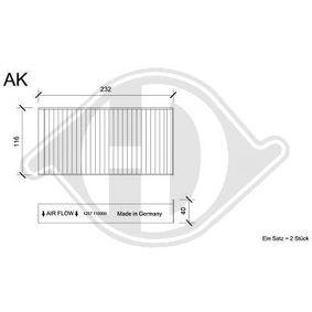 Filter, Innenraumluft Länge: 232mm, Breite: 116mm, Höhe: 32mm mit OEM-Nummer 64 11 6 823 725