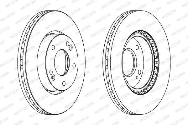 FERODO PREMIER DDF1619C Brake Disc Brake Disc Thickness: 26mm, Num. of holes: 5, Ø: 280mm