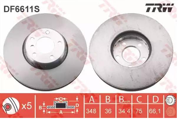 Bremsscheiben DF6611S TRW DF6611S in Original Qualität